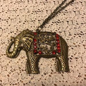 Elephant red rhinestone necklace